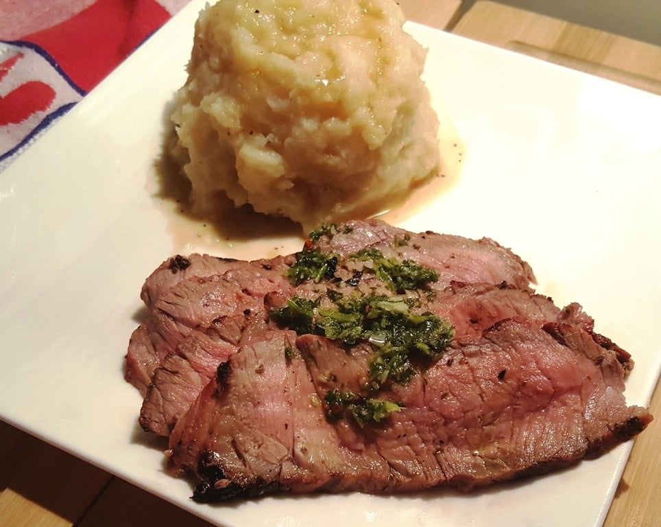 London Broil with Chimichurri Sauce and Mashed Potatoes