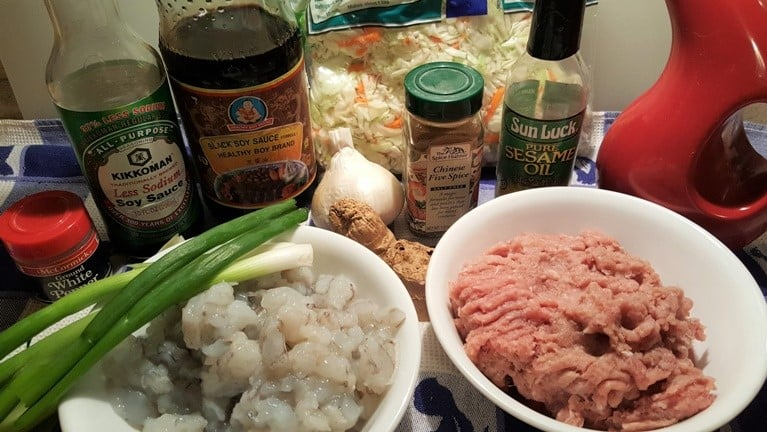 Cast of Ingredients for Instant Pot Egg Roll Bowls