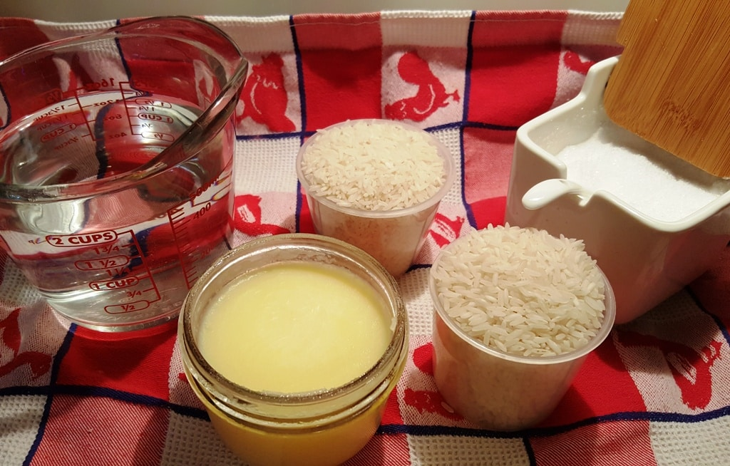 Cast of Ingredients for Pressure Cooker Ghee Rice