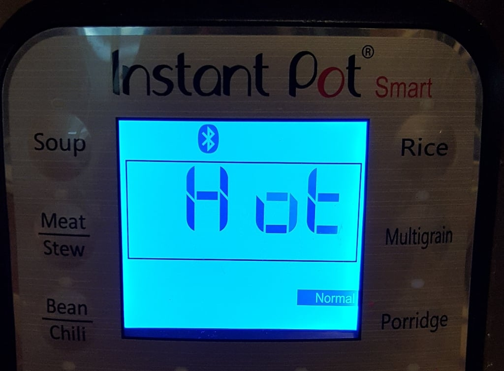 Display on Instant Pot will say Hot