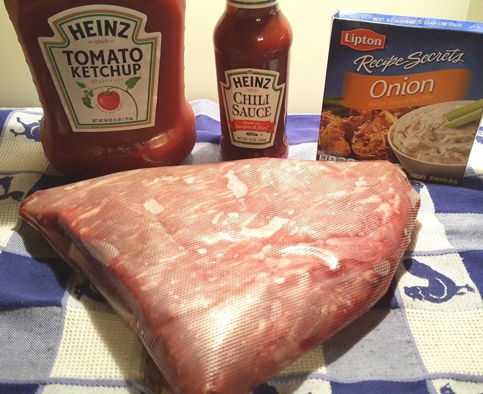 Cast of Ingredients to Pressure Cooker Jewish Brisket