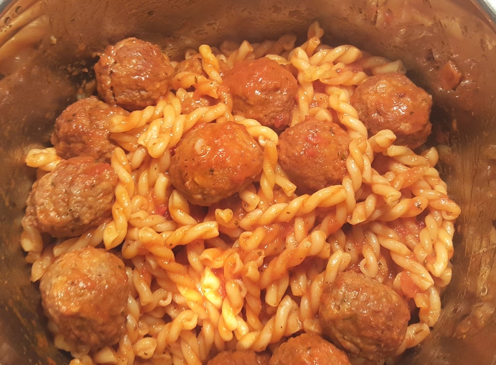 Instant Pot Spaghetti and Meatballs with Gemelli Pasta