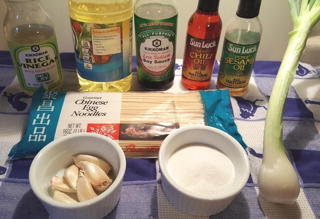 Cast of Ingredients for Sesame Garlic Noodles
