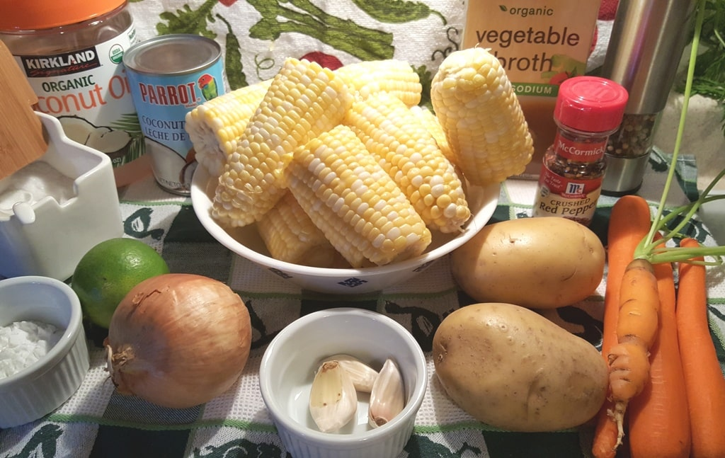 Cast of Ingredients for Pressure Cooker Vegetarian Corn Chowder