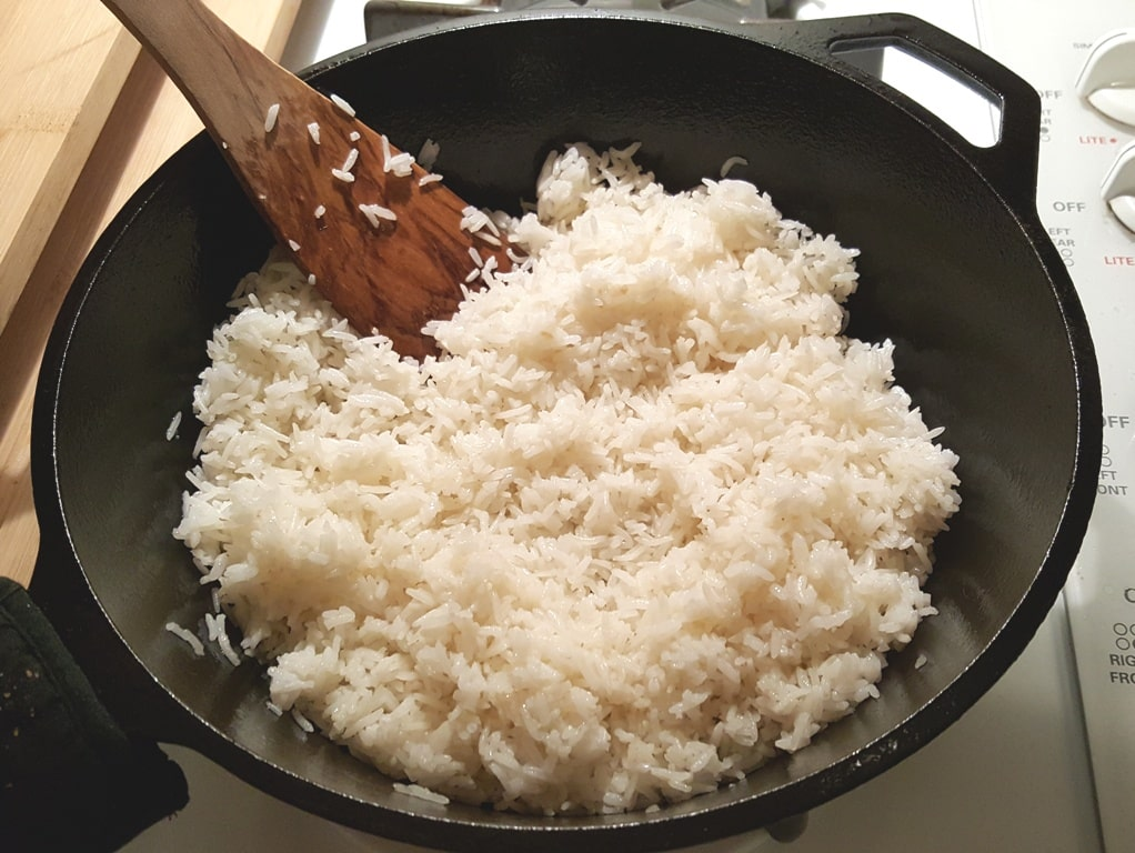 Add the Cooked Rice to the Skillet
