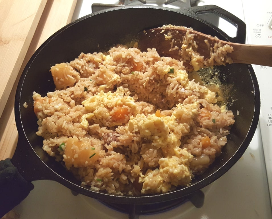 Incorporate the Scrambled Eggs into the Japanese Vegetable Beef Curry Fried Rice
