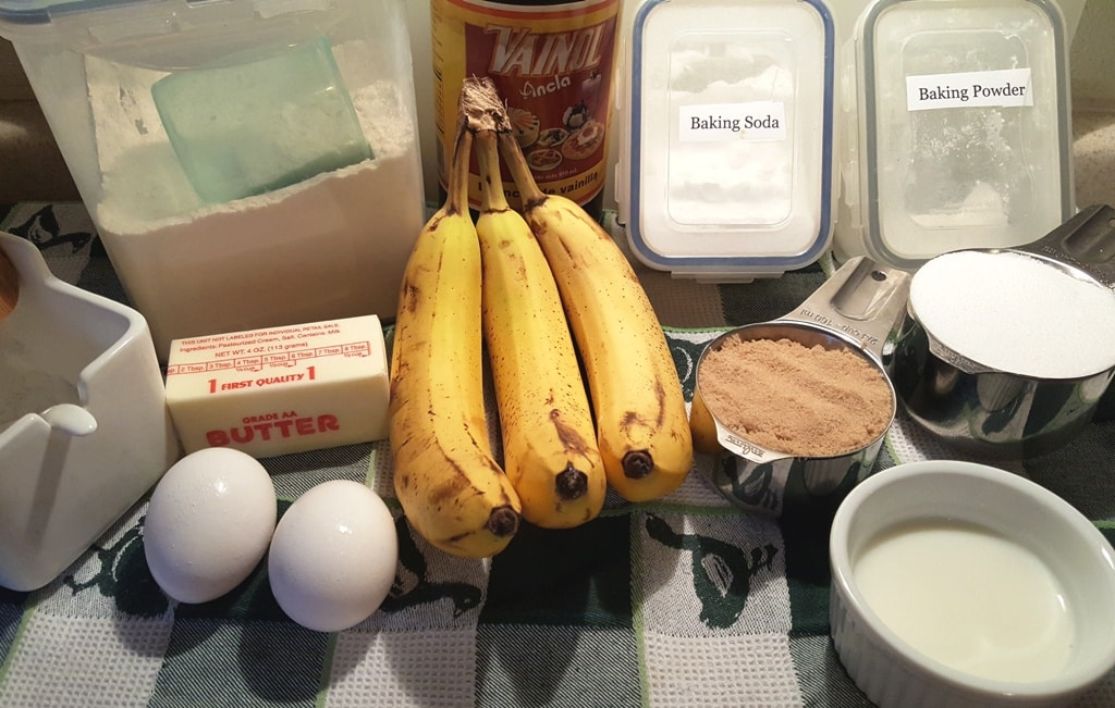 Cast of Ingredients for Simply Delicious Buttermilk Banana Bread