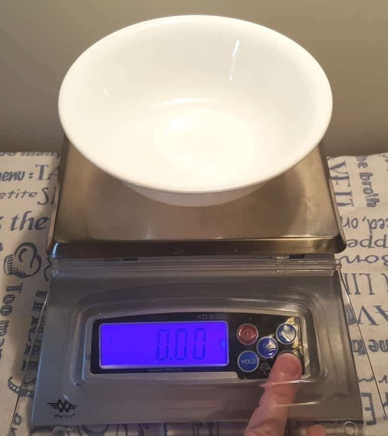Place Bowl on Bakers Scale and Tar it Out