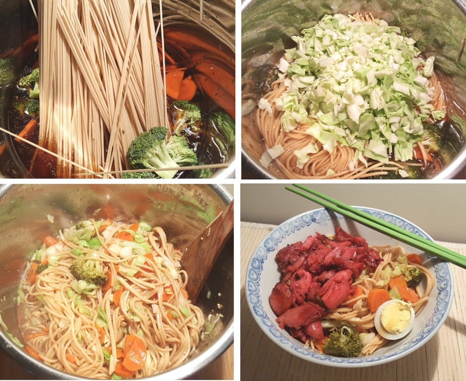 Pressure Cooker Simple Sesame Noodles with Char Siu Chicken and Vegetables