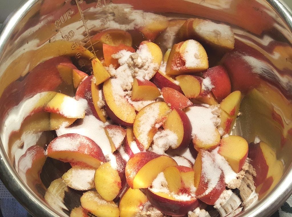 Add Peaches, Sugar and Vanilla to Pressure Cooker
