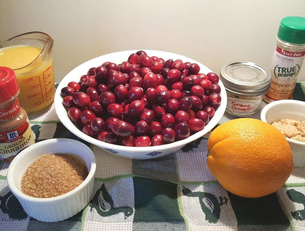 Cast of Ingredients for Instant Pot Orange Ginger Cranberry Sauce