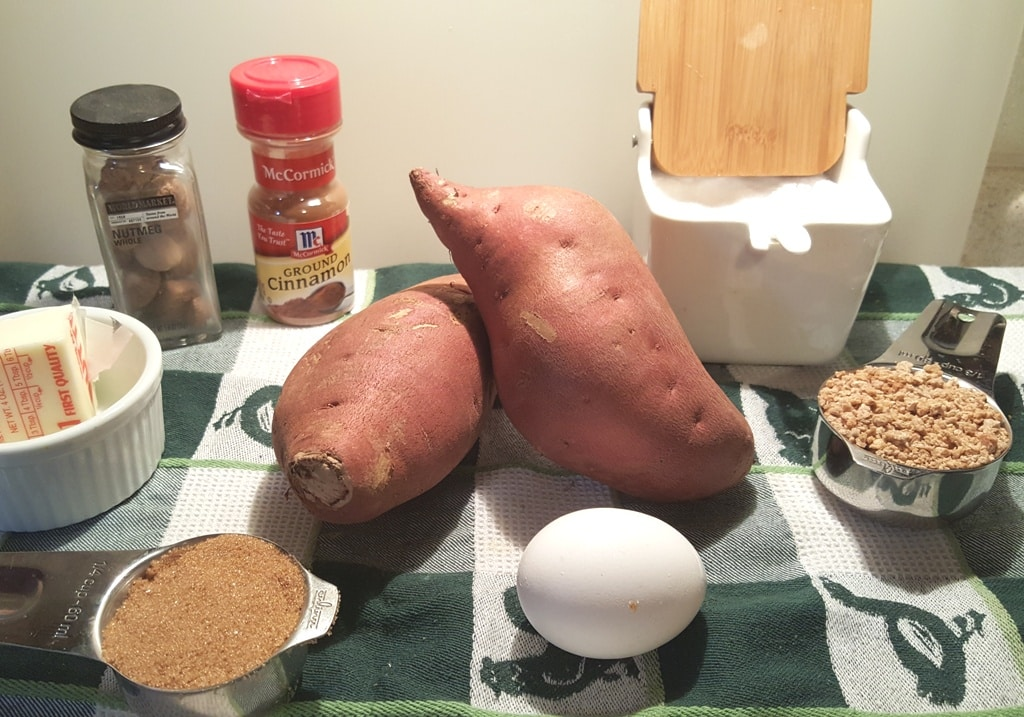 Cast of Ingredients for Pressure Cooker Sweet Potato Casserole