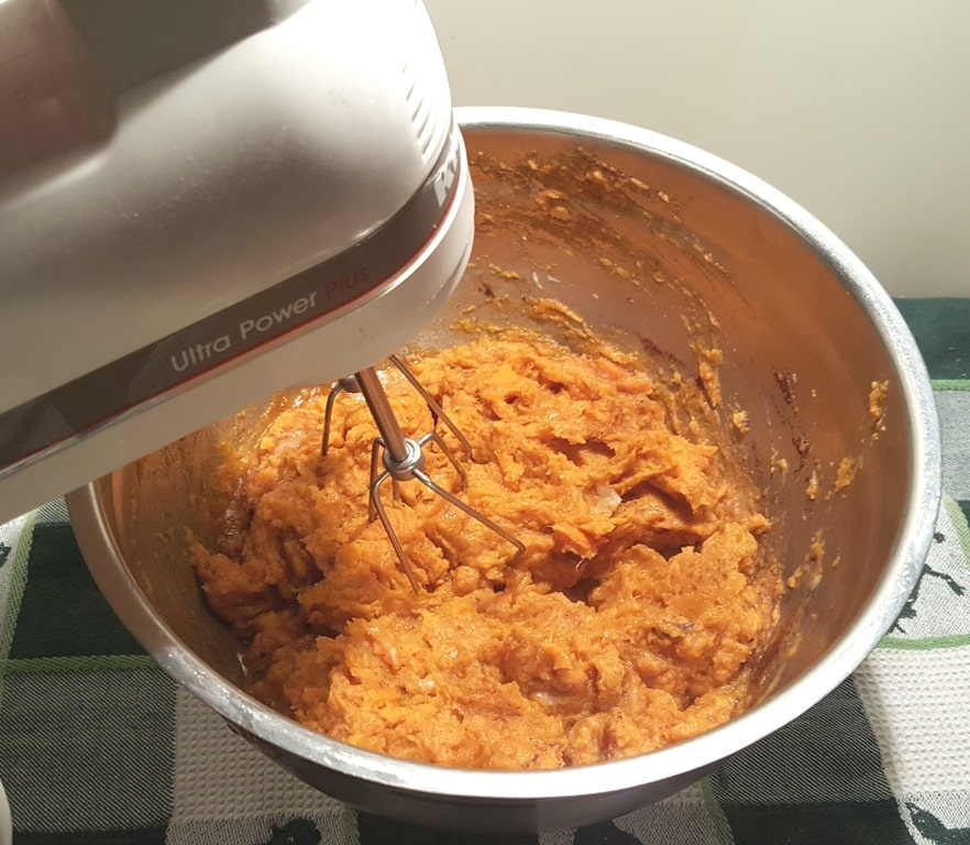 Whip up the Sweet Potatoes with the Egg and other ingredients