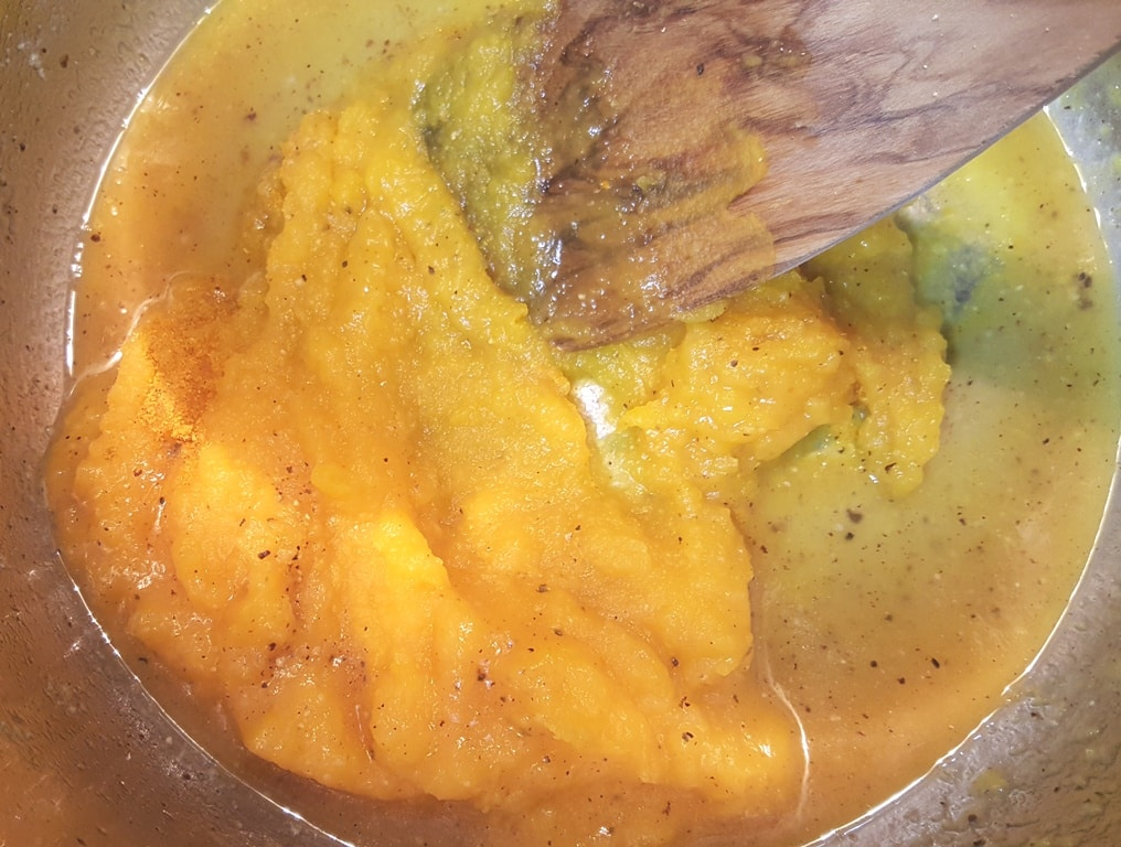 Add the Pumpkin Puree to Deglaze Pot