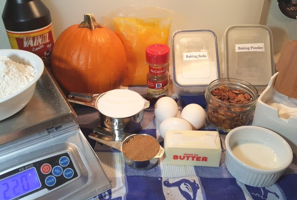Cast of Ingredients for Buttermilk Sugar Pie Pumpkin Bread