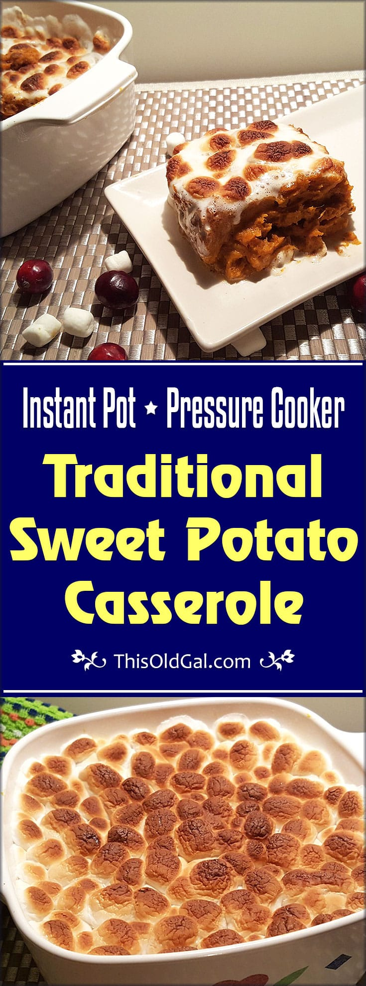Traditional Pressure Cooker Sweet Potato Casserole