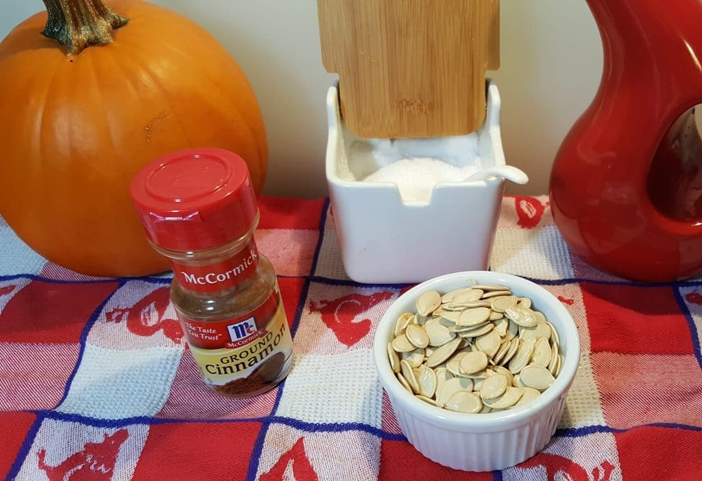 Cast of Ingredients for Toasted Cinnamon Sugar Pumpkin Seeds