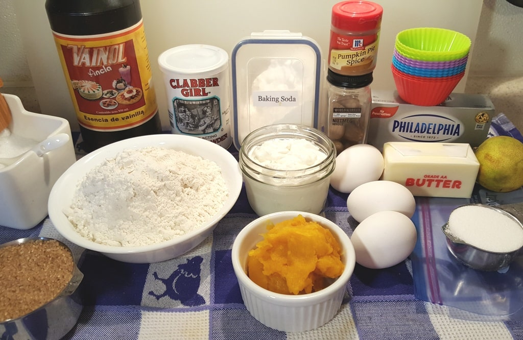 Cast of Ingredients for Pressure Cooker Pumpkin Muffin Cheesecake Bites