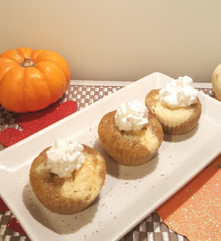 Pressure Cooker Pumpkin Muffin Cheesecake Bites