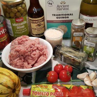 Cast of Ingredients for Pressure Cooker Picadillo Stuffed Delicata Squash