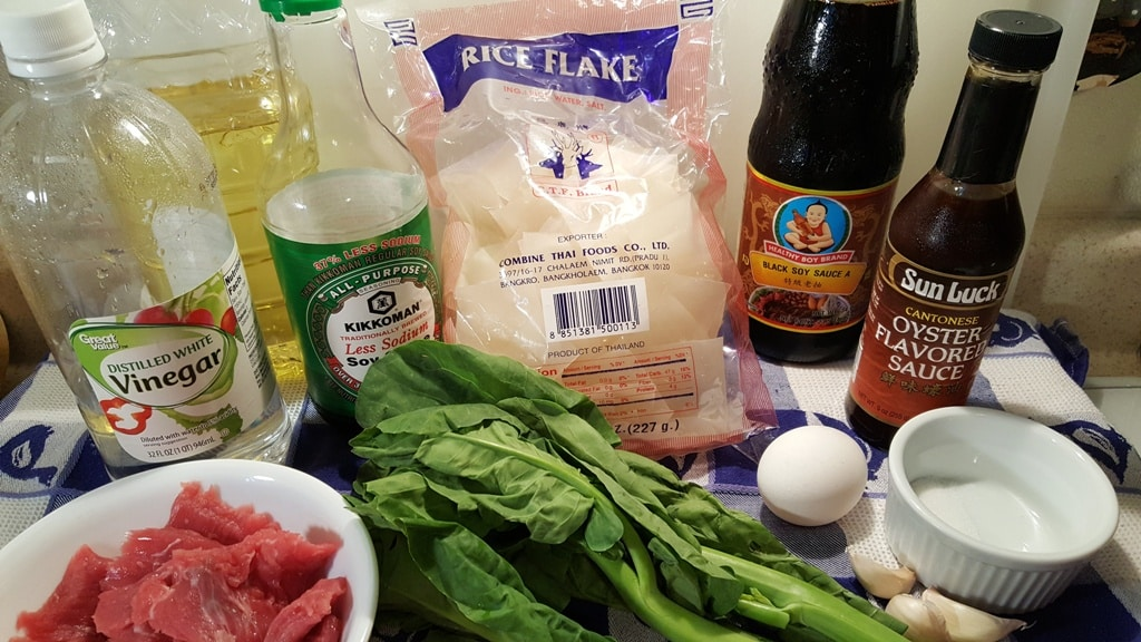 Cast of Ingredients for Thai Pad See Ew Stir Fried Noodles