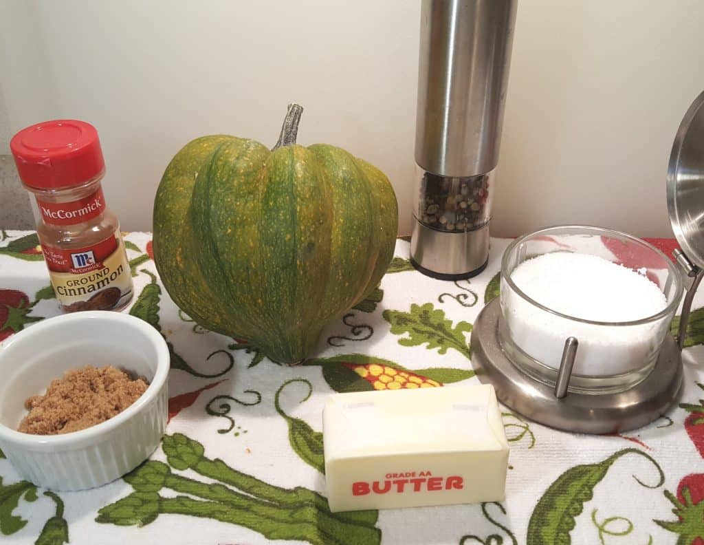 Cast of Ingredients for Pressure Cooker Simple Acorn Squash