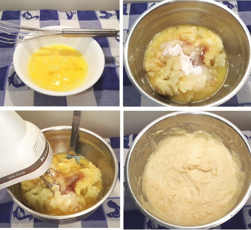 Whisk up the eggs, add filling ingredients