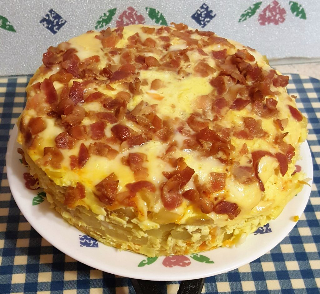 Pressure Cooker Spanish Tortilla with Bacon and Scallions