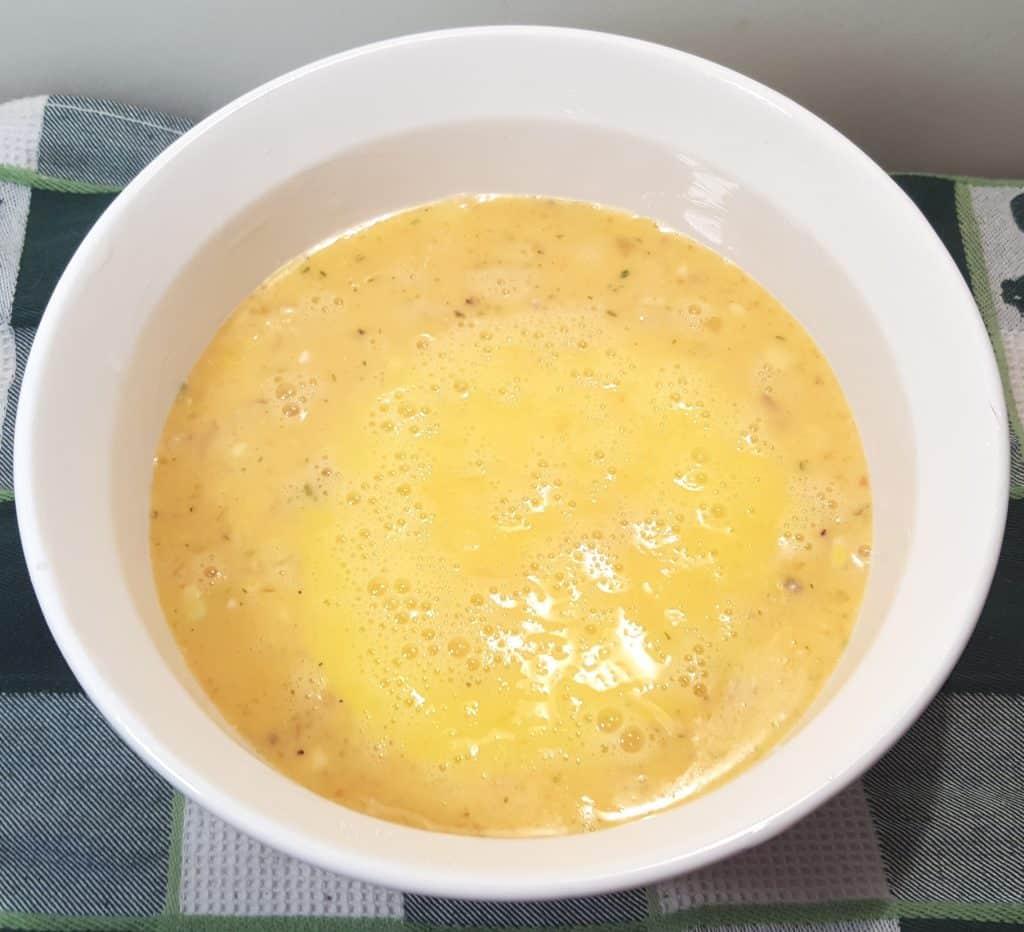 Pour Egg Mixture Over Potatoes