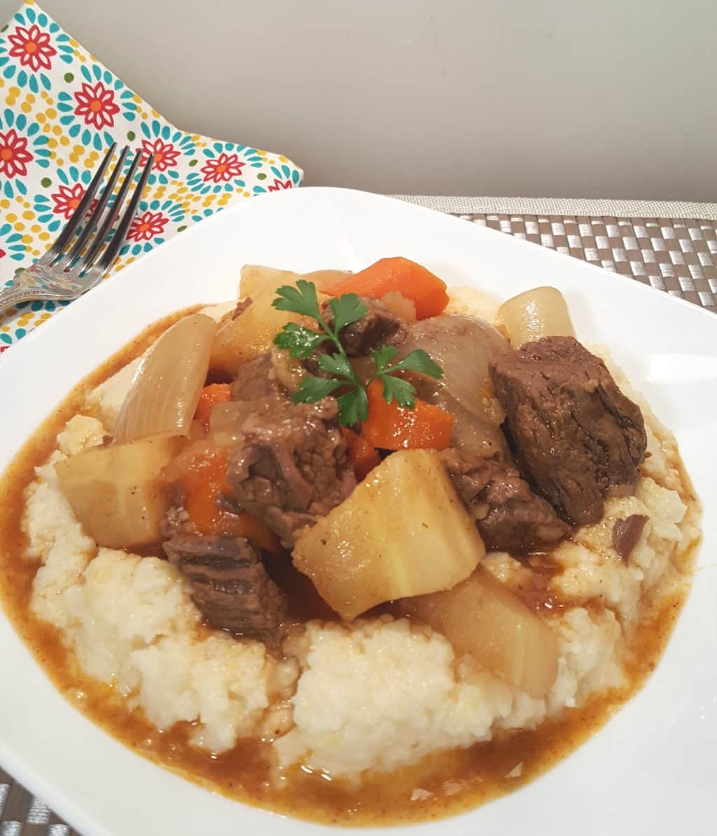 Pressure Cooker Beef Stew with Root Vegetables and Cheesy Grits