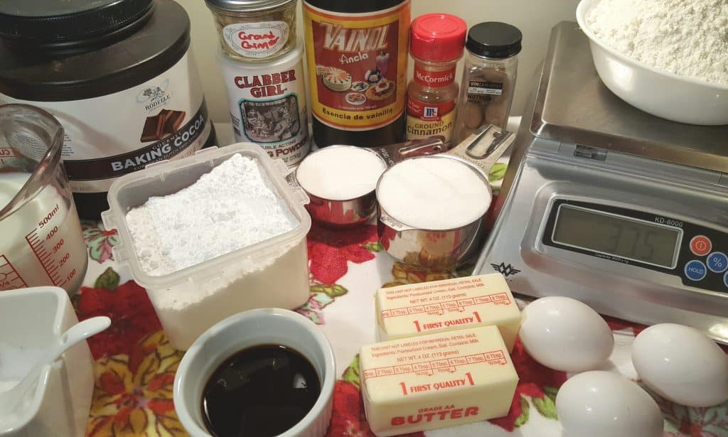 Cast of Ingredients for Instant Pot Choco Spice Layer Cake