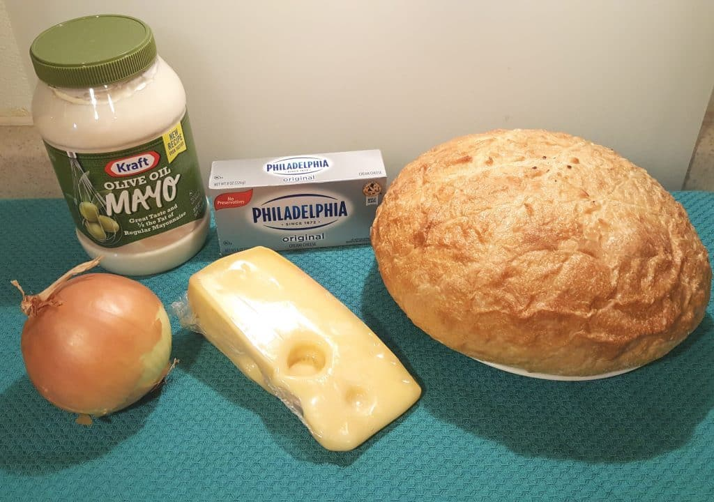 Cast of Ingredients for Hot Onion Cheese Dip Bread Bowl