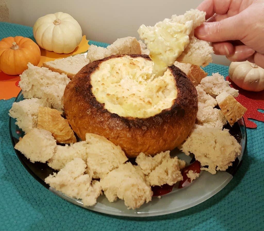 Stringy Hot Onion Cheese Dip Bread Bowl