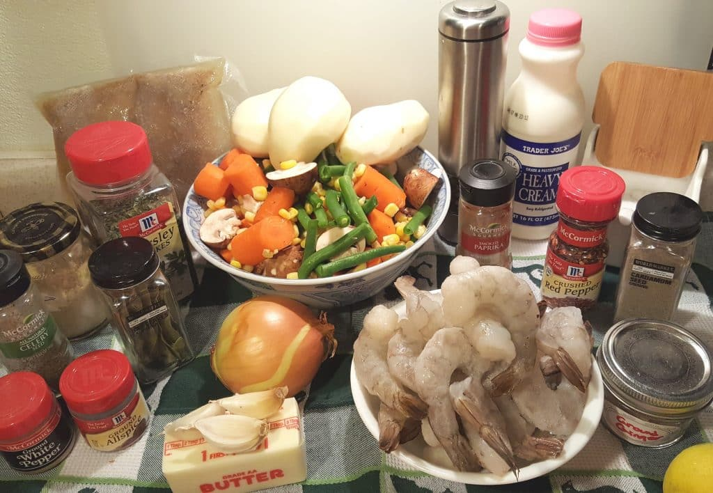 Cast of Ingredients for Instant Pot Seafood Corn Chowder