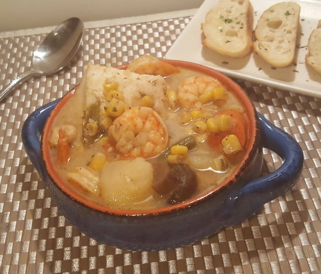 Pressure Cooker Seafood Corn Chowder with Shrimp and Cod