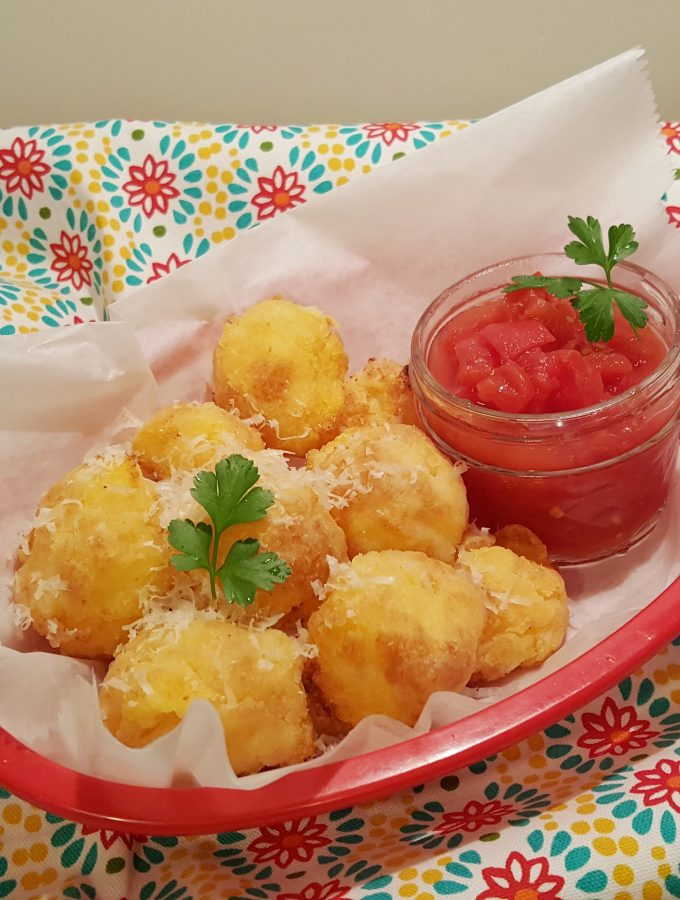 Air Fryer Goat Cheese Polenta Bites & Marinara Sauce