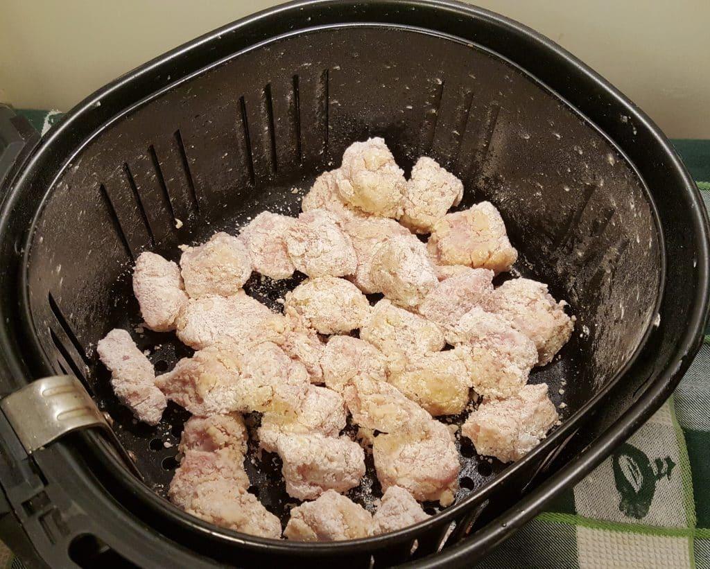 Place Pork Pieces into Air Fryer