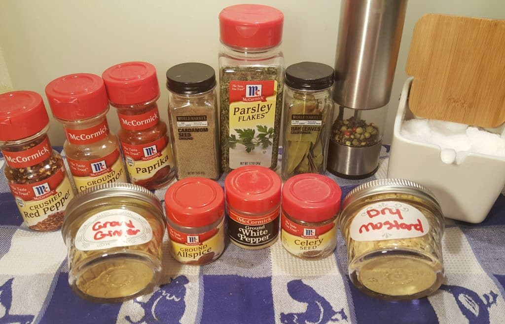 Cast of Ingredients for Homemade Old Bay Seasoning Recipe