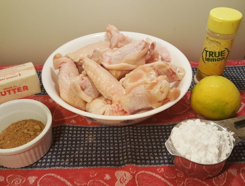 Cast of Ingredients for Air Fryer Crispy Old Bay Chicken Wings