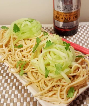 Pressure Cooker P.F. Chang's Garlic Noodles & a Drizzle of Toasted Sesame Oil