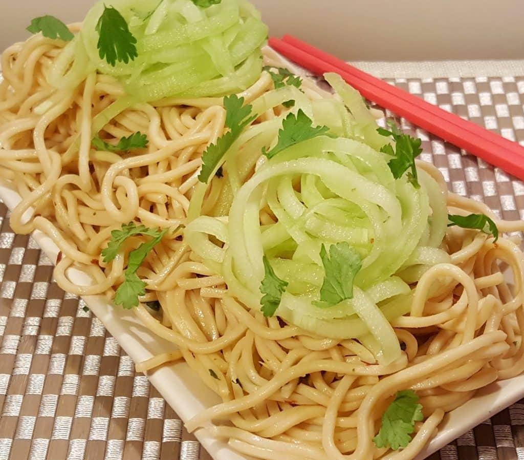 Instant Pot Garlic Garlic Noodles with English Cucumber