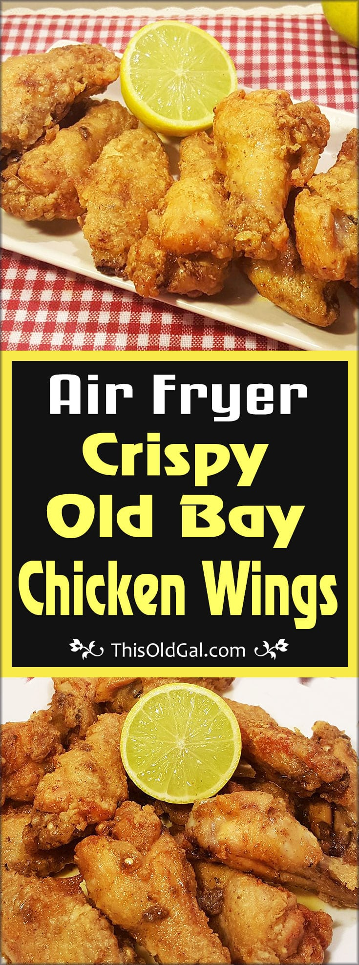 Air Fryer Crispy Old Bay Chicken Wings with Warm Lemon Butter