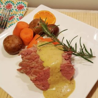 Pressure Cooker Corned Beef with White Wine Brandy Mustard Sauce