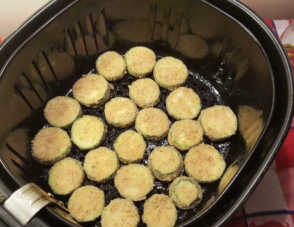 Place Zucchini Zircles into Air Fryer Basket