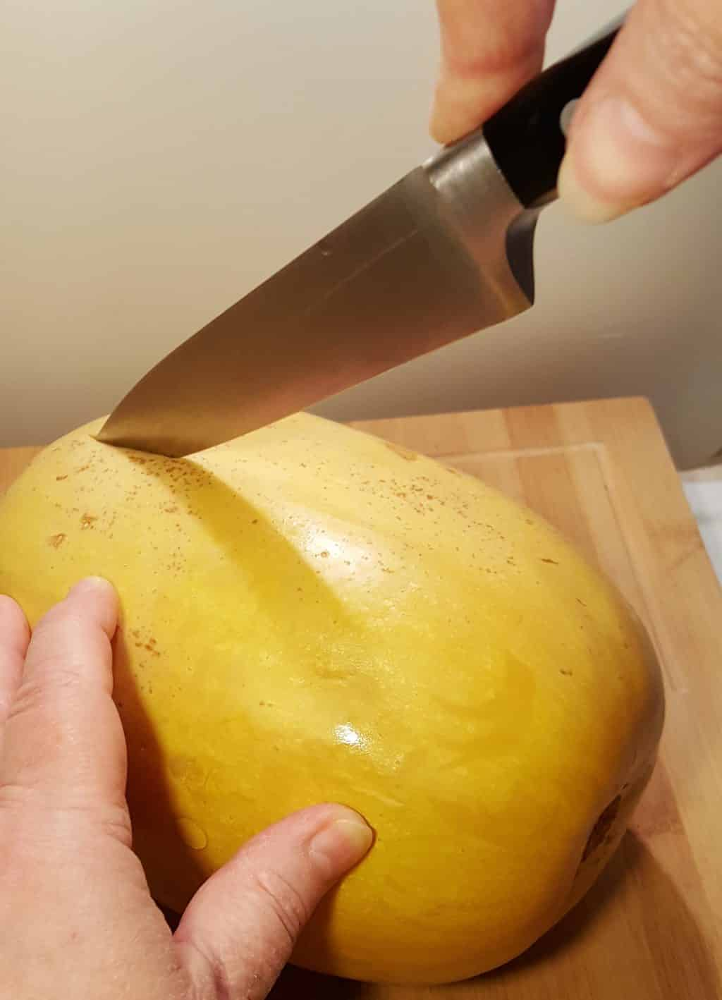 Use a Sharp Knife to Cut the Spaghetti Squash