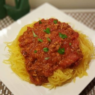 Pressure Cooker Spaghetti Squash and Meat Sauce
