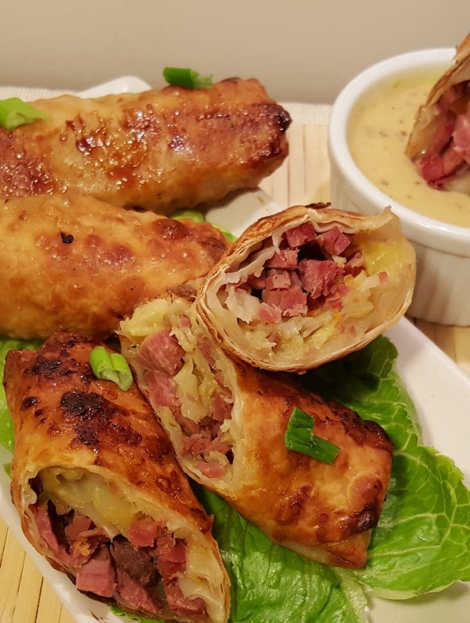 Air Fryer Pub Style Corned Beef Egg Rolls with White Wine Mustard Sauce