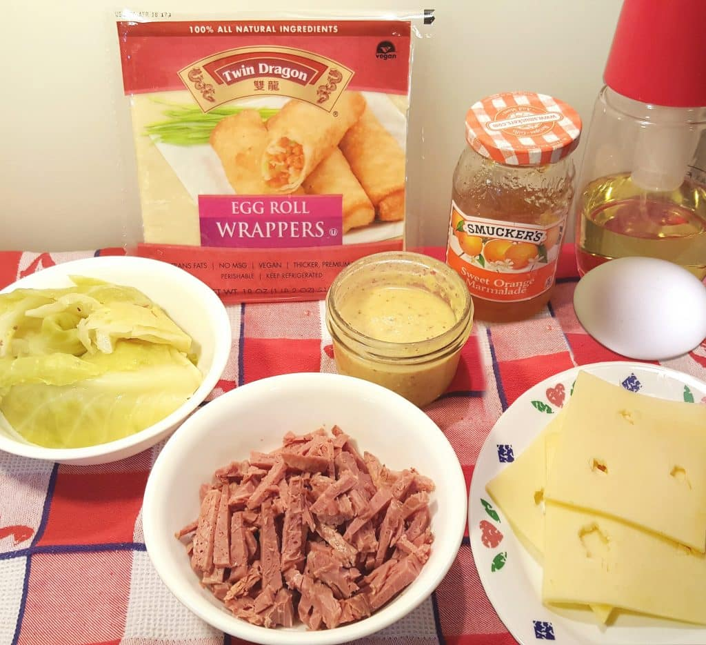 Cast of Ingredients for Air Fryer Pub Style Corned Beef Egg Rolls