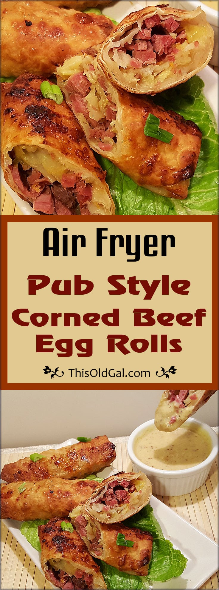 Air Fryer Pub Style Corned Beef Egg Rolls w/ Dipping Sauce