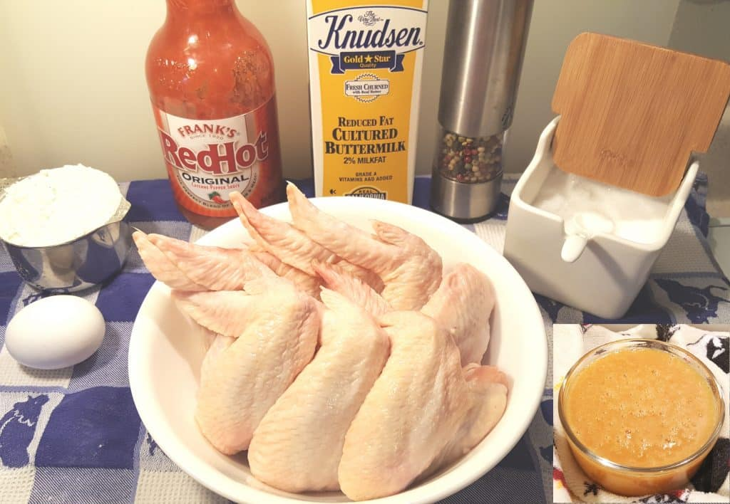Cast of Ingredients for Air Fryer Hamburger Hamlet Chicken Wings Platter w/Secret Apricot Sauce